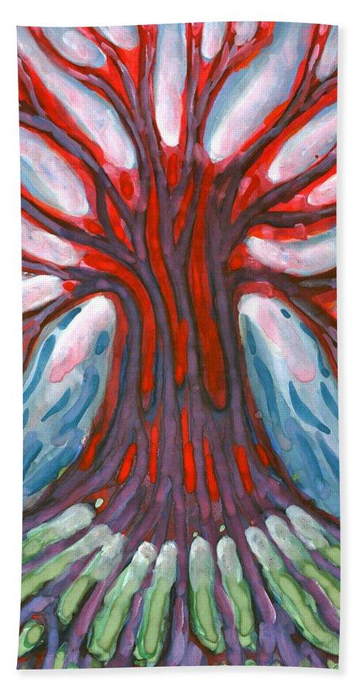 Colour Bath Sheet featuring the painting Winter Tree by Wojtek Kowalski