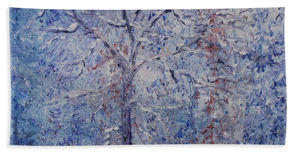 Winter Bath Towel featuring the painting Winter Trees by Nadine Rippelmeyer