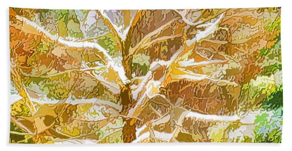 Snow Hand Towel featuring the painting Winter Trees On Snow 2 by Jeelan Clark