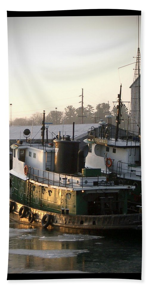 Tugs Hand Towel featuring the photograph Winter Tugs by Tim Nyberg