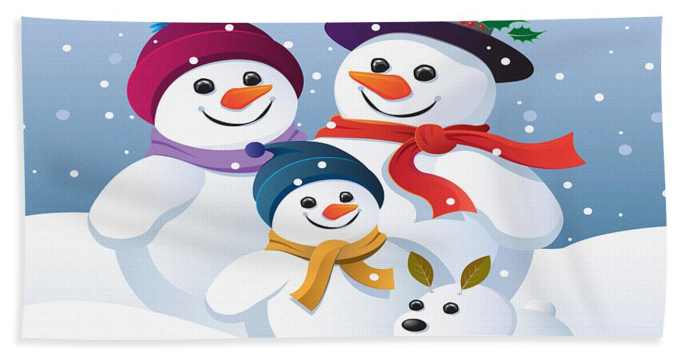Decoration Hand Towel featuring the digital art Winter Vacation With Mum Dad And Snowy by Don Kuing