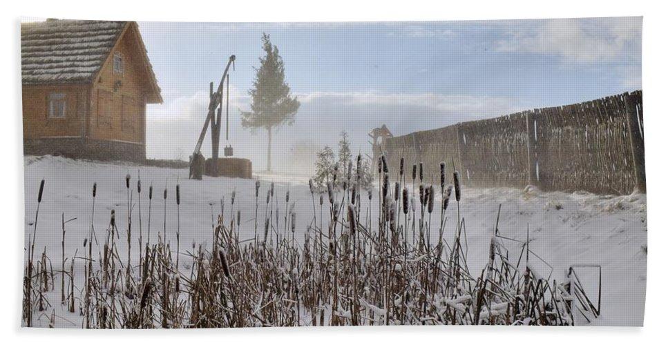 Attractive Bath Sheet featuring the photograph Winter Village by Vadzim Kandratsenkau