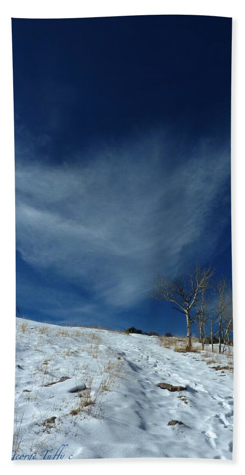 Winter Colorado Hike Simple Zen Cloud Sky Rocky Mountain Hand Towel featuring the photograph Winter Walk by George Tuffy