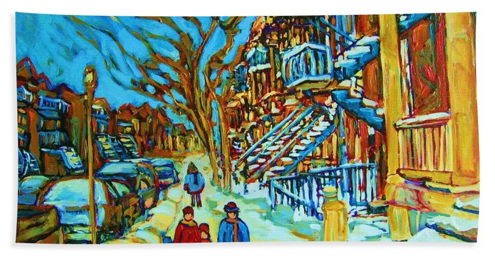 Winterscenes Bath Towel featuring the painting Winter Walk In The City by Carole Spandau
