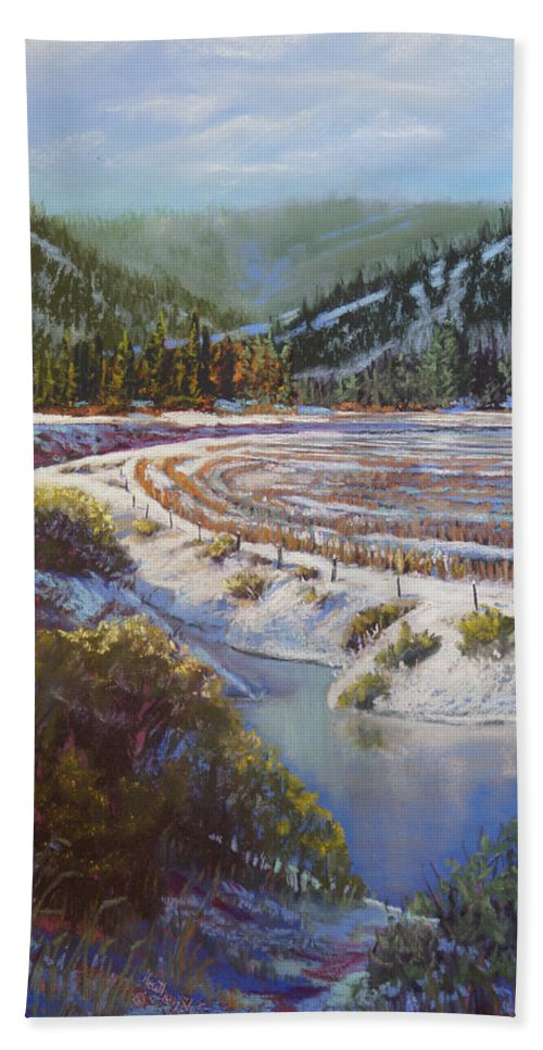 Lake Hand Towel featuring the pastel Winter Wheat by Heather Coen