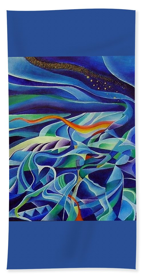 Winter Vivaldi Music Abstract Acrylic Bath Towel featuring the painting Winter by Wolfgang Schweizer