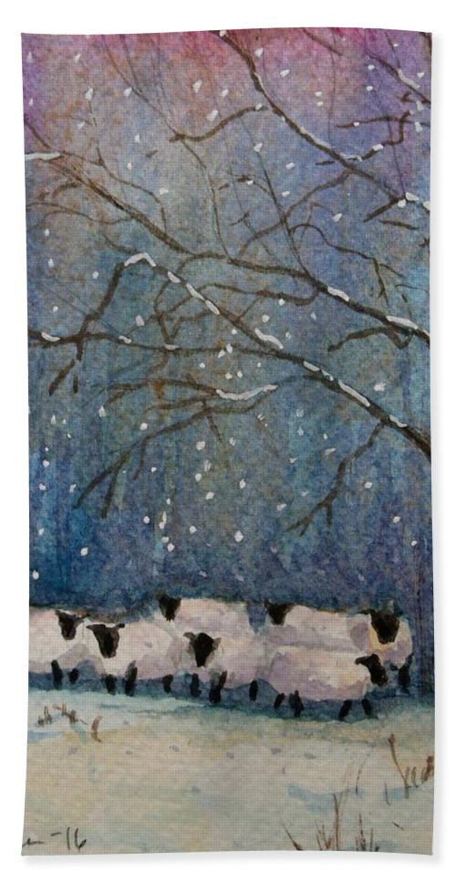 Sheep Bath Sheet featuring the painting Winter Wool by Mona Davis