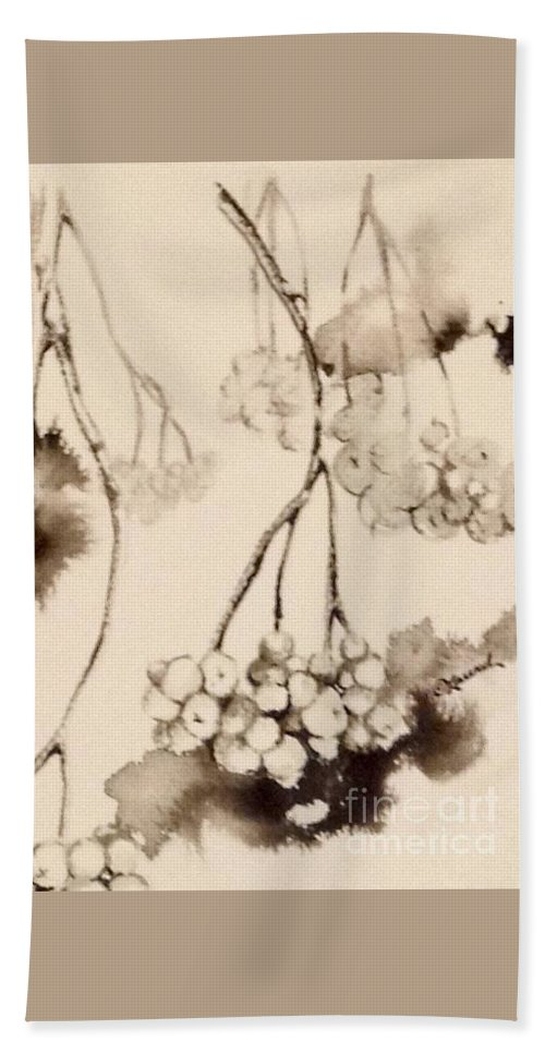 Chiaroscuro Bath Sheet featuring the painting Winterberries by Laurel Adams