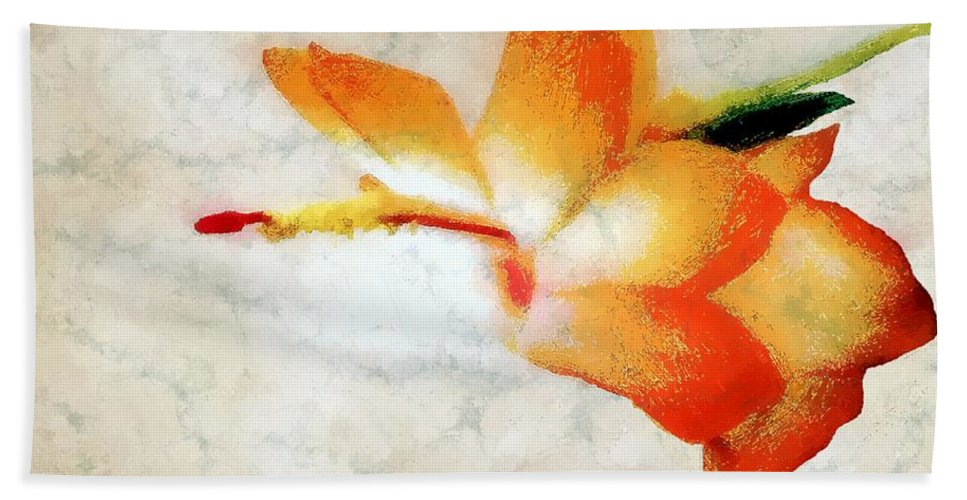 Christmas Cactus Hand Towel featuring the painting Winterbloom by RC DeWinter