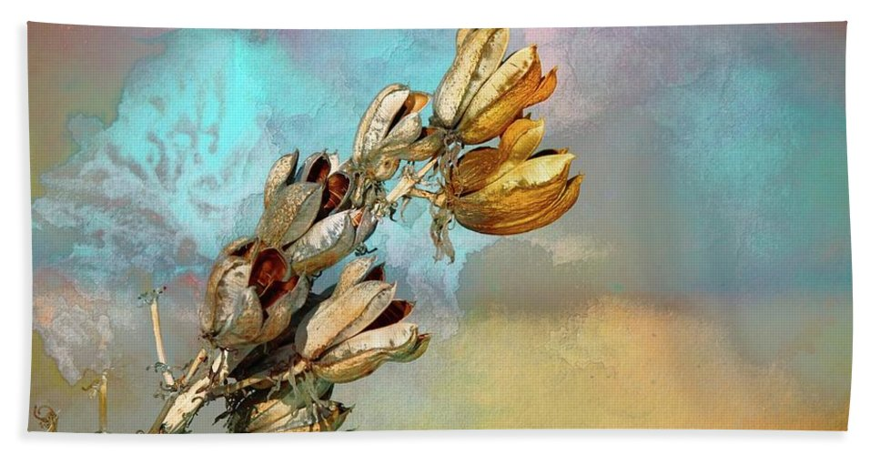 New Mexico Bath Sheet featuring the mixed media Winters Day Desert Yucca by Barbara Chichester