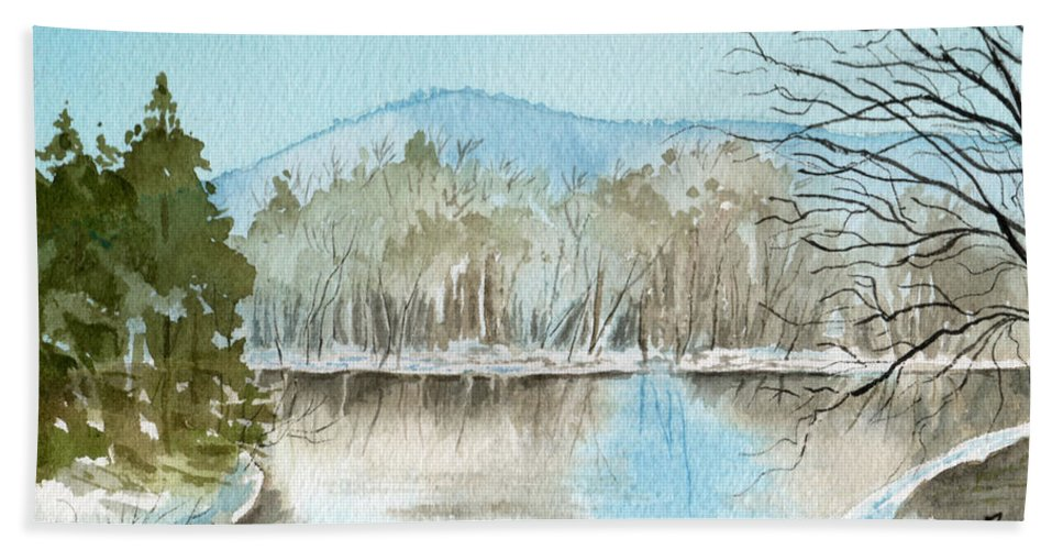 Landscape Hand Towel featuring the painting Winter's Daylight Chill by Brenda Owen