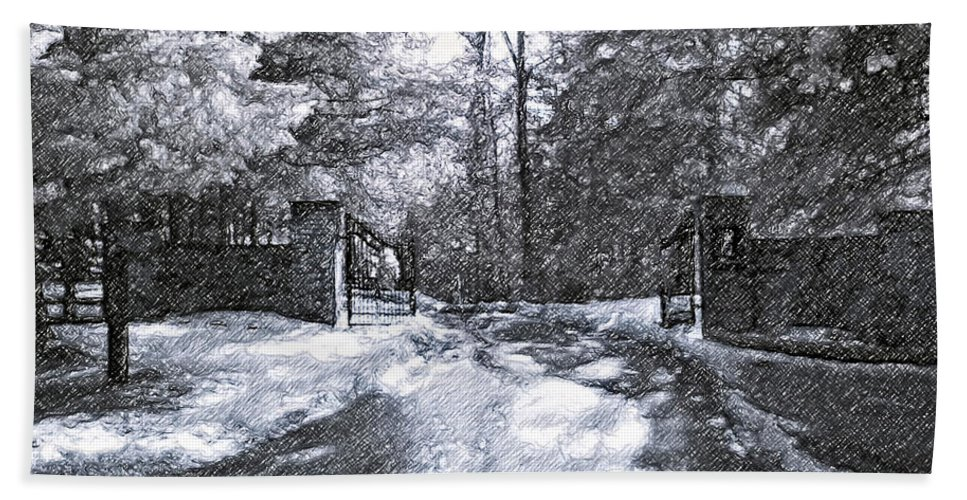 Winter Bath Sheet featuring the photograph Winter's Gates by Steve Harrington