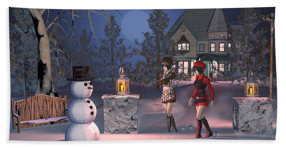 Winter Scene Hand Towel featuring the digital art Winters Night by John Junek
