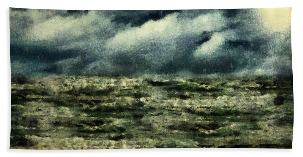 Landscape Hand Towel featuring the painting Winter Whitecaps by RC DeWinter