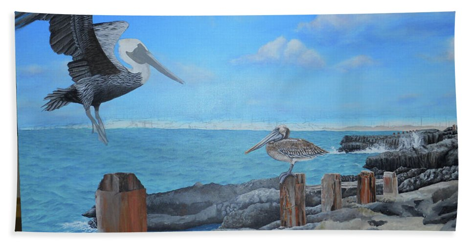 Bath Sheet featuring the painting Wip- Pelican 03 by Cindy D Chinn