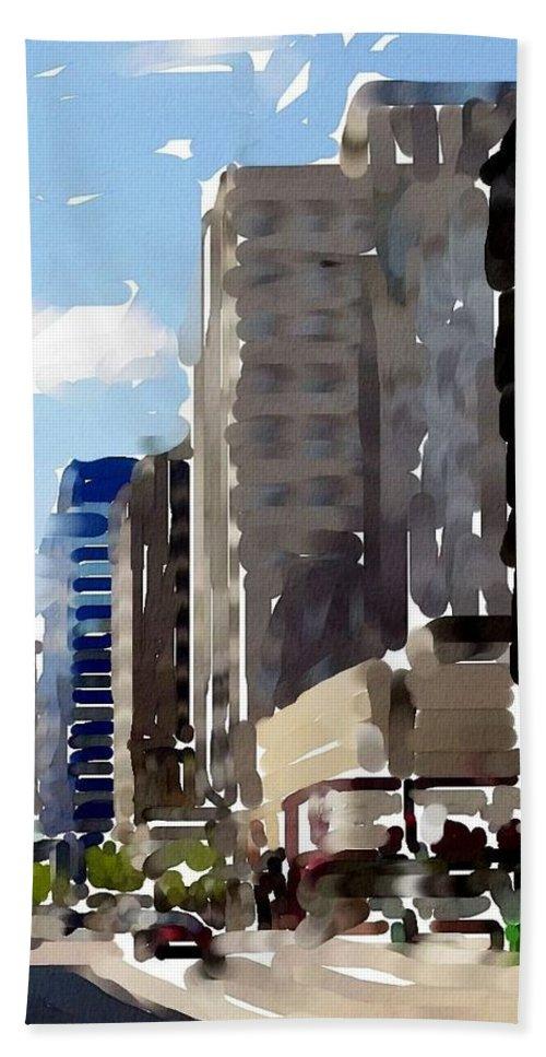 Milwaukee Hand Towel featuring the digital art Wisconsin Ave 1 by Anita Burgermeister