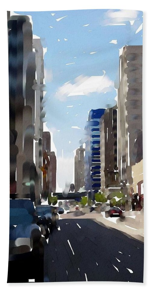 Milwaukee Hand Towel featuring the digital art Wisconsin Ave 2 by Anita Burgermeister