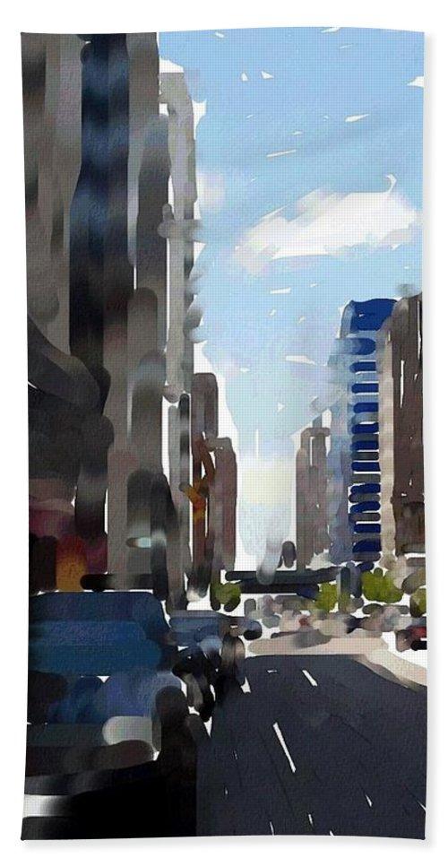 Milwaukee Hand Towel featuring the digital art Wisconsin Ave 3 by Anita Burgermeister