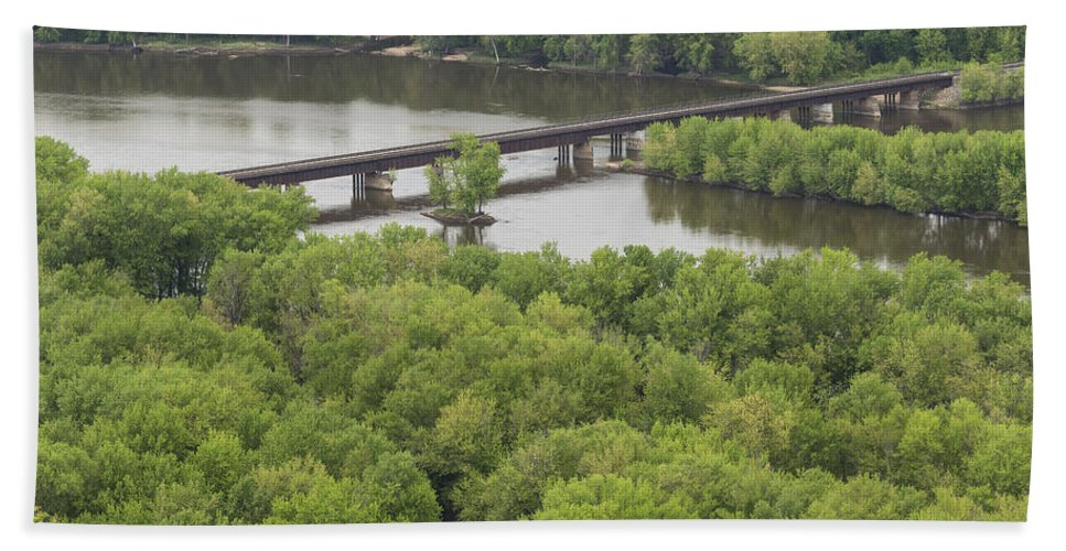 River Hand Towel featuring the photograph Wisconsin River Overlook 2 by John Brueske