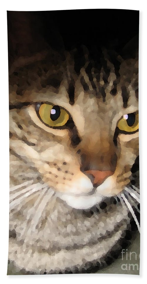 Cat Bath Sheet featuring the photograph Wise Cat by Rhonda Chase