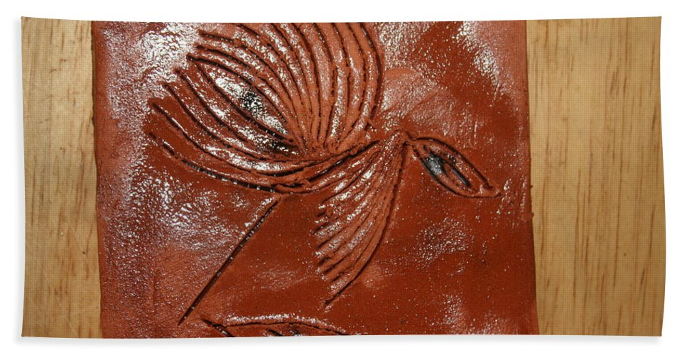 Jesus Hand Towel featuring the ceramic art Wise Eyes - Tile by Gloria Ssali