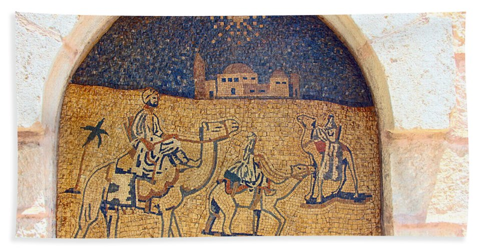 Wise Men Bath Sheet featuring the photograph Wise Men Reaching Beit Sahour by Munir Alawi