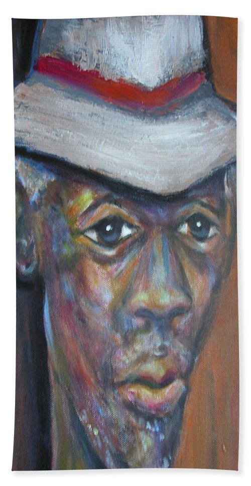 Hand Towel featuring the painting Wise Old Man by Jan Gilmore