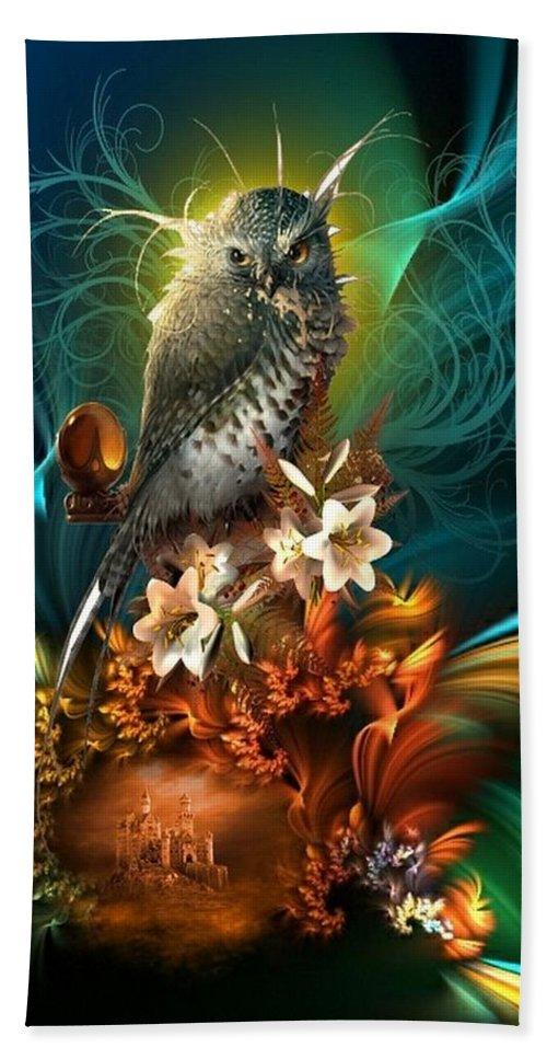 Fantasy Hand Towel featuring the digital art Wise One by Ali Oppy