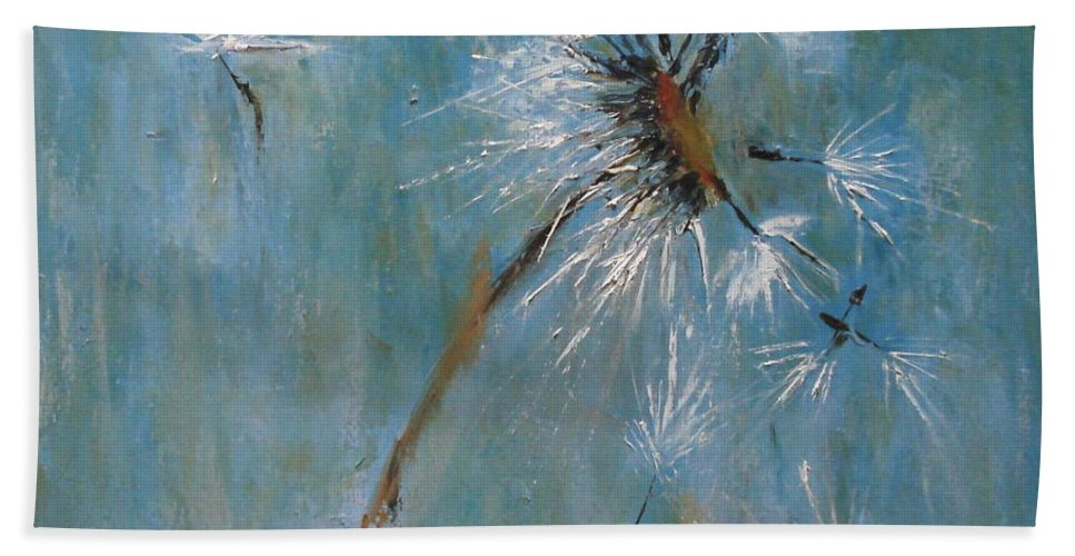 Landscape Bath Towel featuring the painting Wishes by Barbara Andolsek