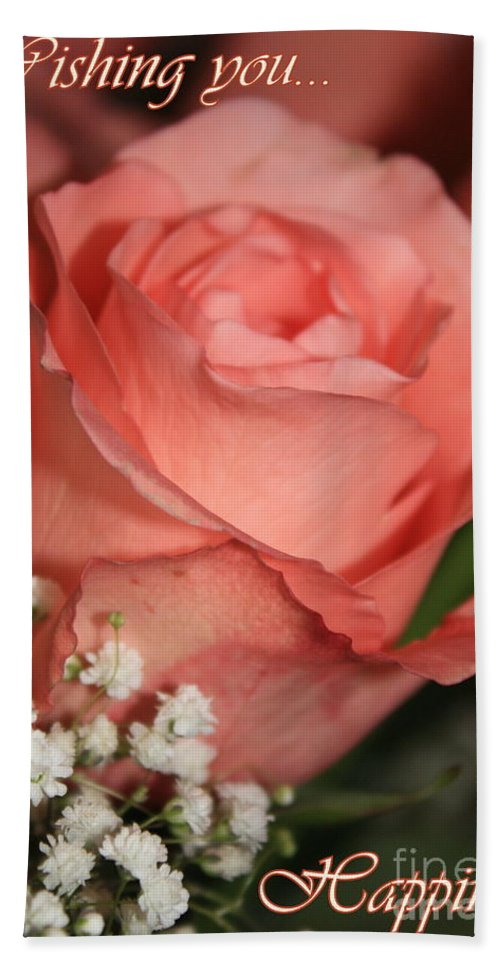 Card Hand Towel featuring the photograph Wishing You Happiness Card by Carol Groenen