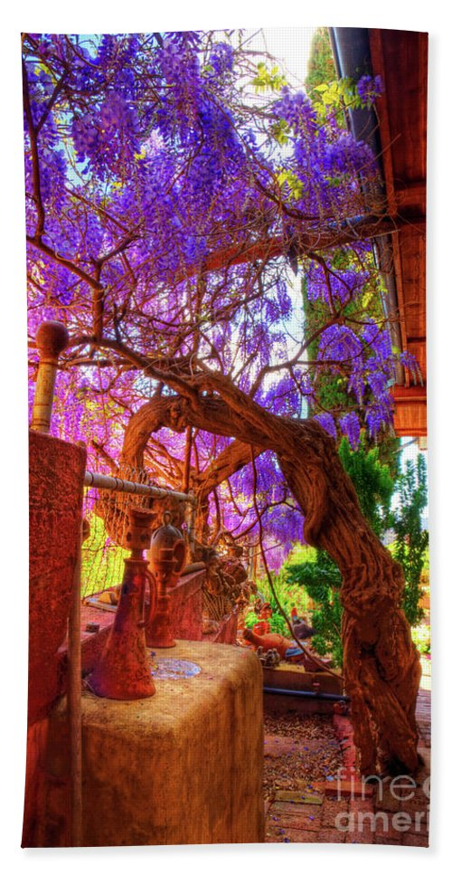 Wisteria Bath Sheet featuring the photograph Wisteria Canopy In Bisbee Arizona by Charlene Mitchell