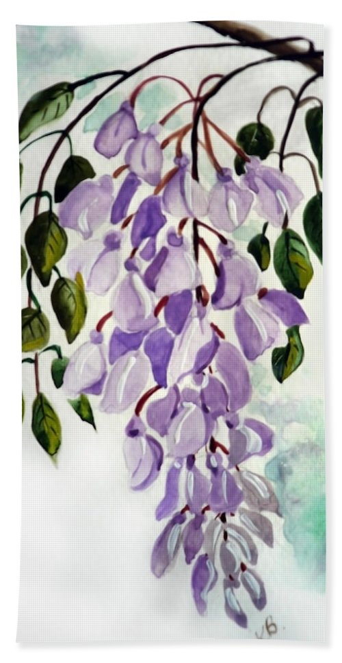 Floral Paintings Flower Paintings Wisteria Paintings Botanical Paintings Flower Purple Paintings Greeting Card Paintings  Hand Towel featuring the painting Wisteria by Karin Dawn Kelshall- Best
