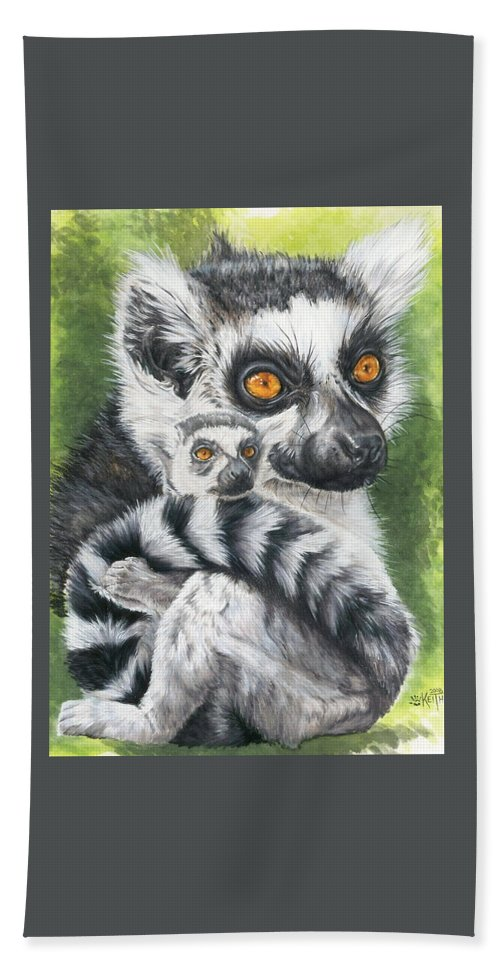 Lemur Hand Towel featuring the mixed media Wistful by Barbara Keith