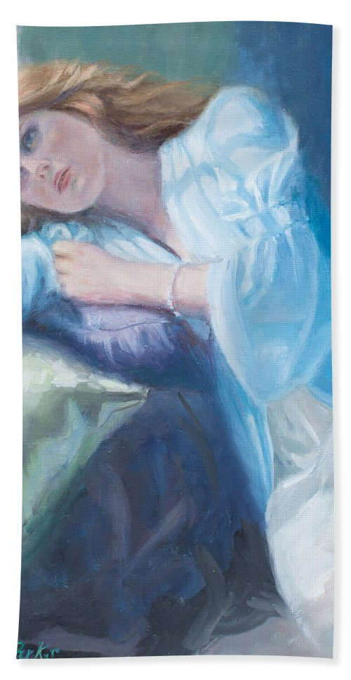 Girl Bath Sheet featuring the painting Wistful by Sarah Parks