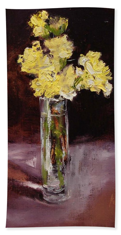 Floral Hand Towel featuring the painting With Love by Barbara Andolsek