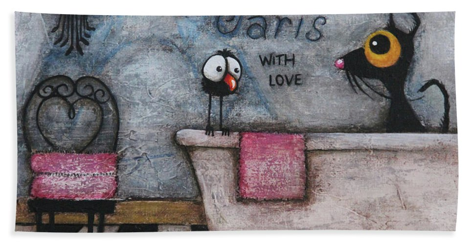 Paris Hand Towel featuring the mixed media With Love by Lucia Stewart
