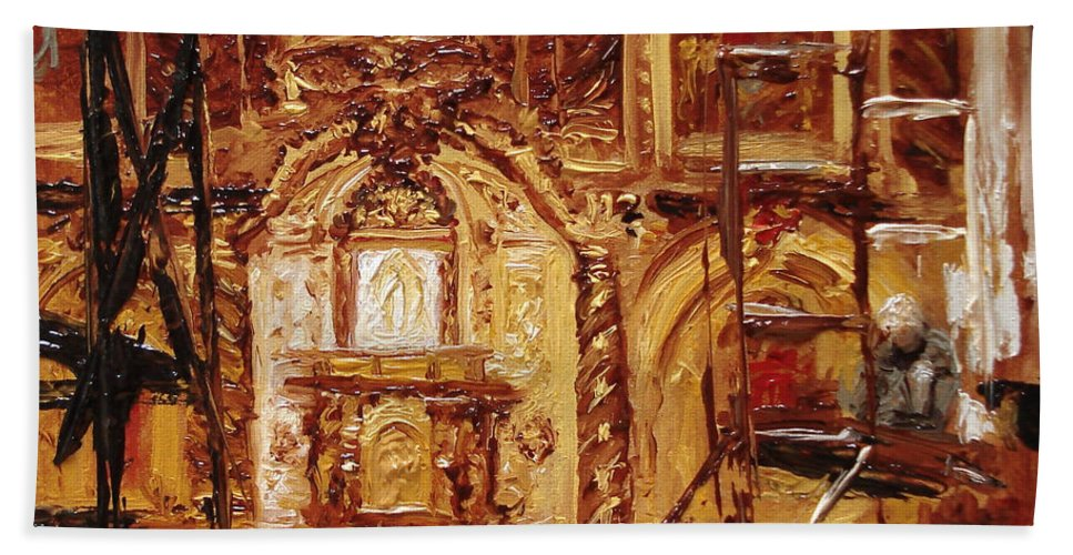Chapel Bath Towel featuring the painting Within The Scaffold by Barbara Andolsek