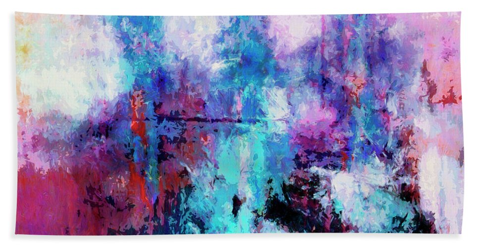 Abstract Hand Towel featuring the painting Witnesses by Dominic Piperata