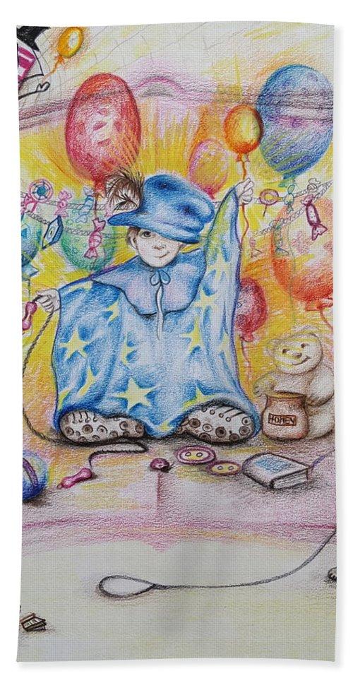Children Bath Towel featuring the drawing Wizard Boy by Rita Fetisov