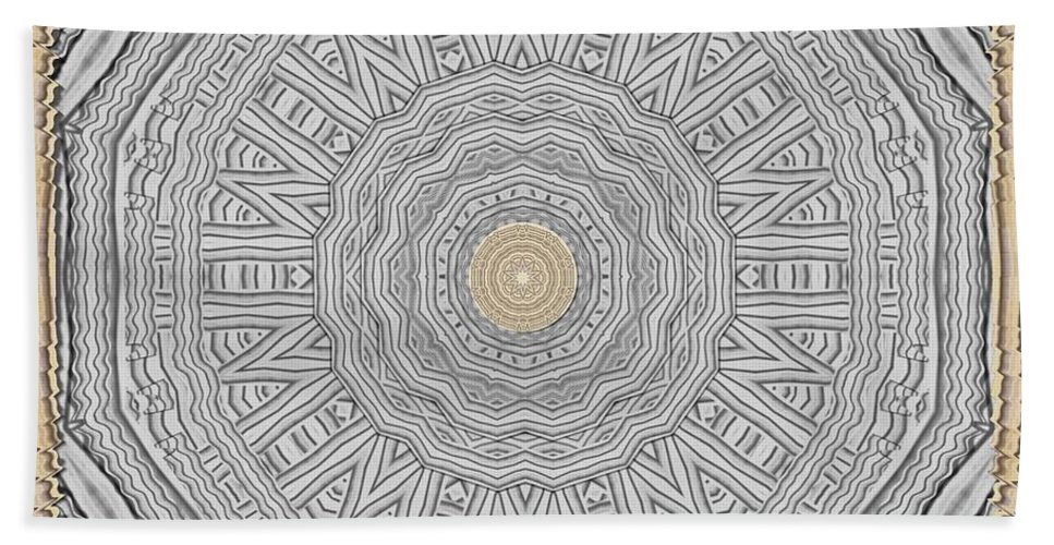 Wood Bath Sheet featuring the mixed media Wodden Sacred Popart by Pepita Selles