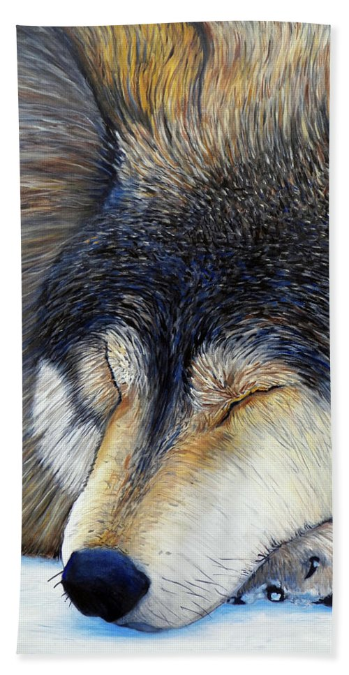 Wolf Bath Towel featuring the painting Wolf Dreams by Brian Commerford
