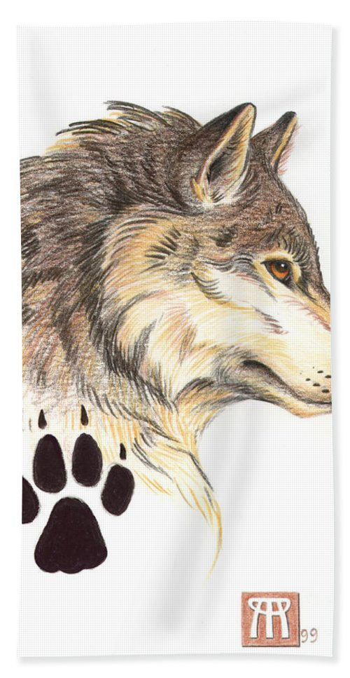 Wolf Hand Towel featuring the painting Wolf Head Profile by Melissa A Benson