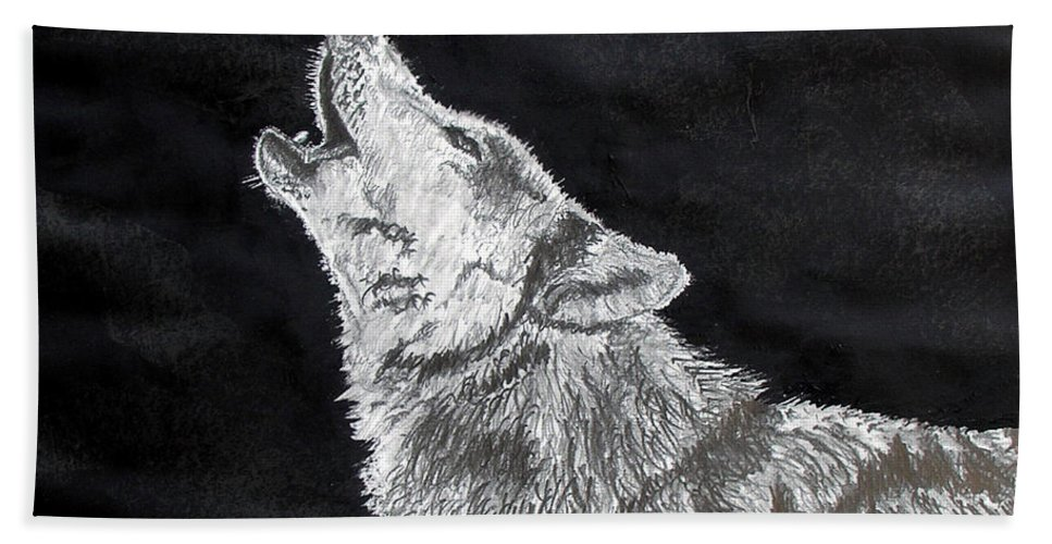 Pencil Bath Sheet featuring the drawing Wolf Howl by Stan Hamilton