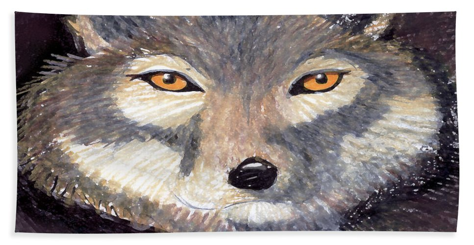 Wolf Hand Towel featuring the painting Wolf by Kevin Middleton