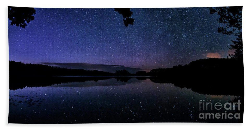 Astrophotography Hand Towel featuring the photograph Wolf Lake At Night 1 by Trevor Moore