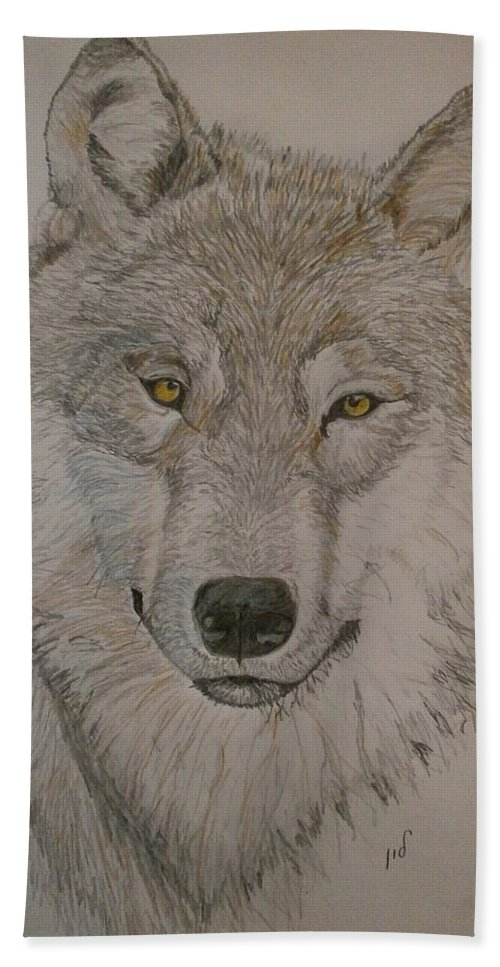 Animal Art. Hand Towel featuring the drawing Wolf by Maria Woithofer
