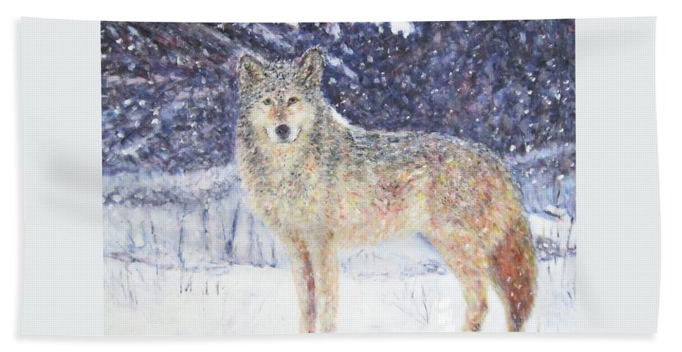 Landscapes Hand Towel featuring the painting Wolf Of The North by Glenda Crigger