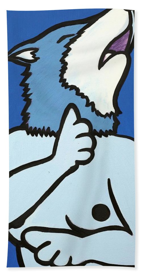 Clay Bath Towel featuring the painting Wolve by Thomas Valentine