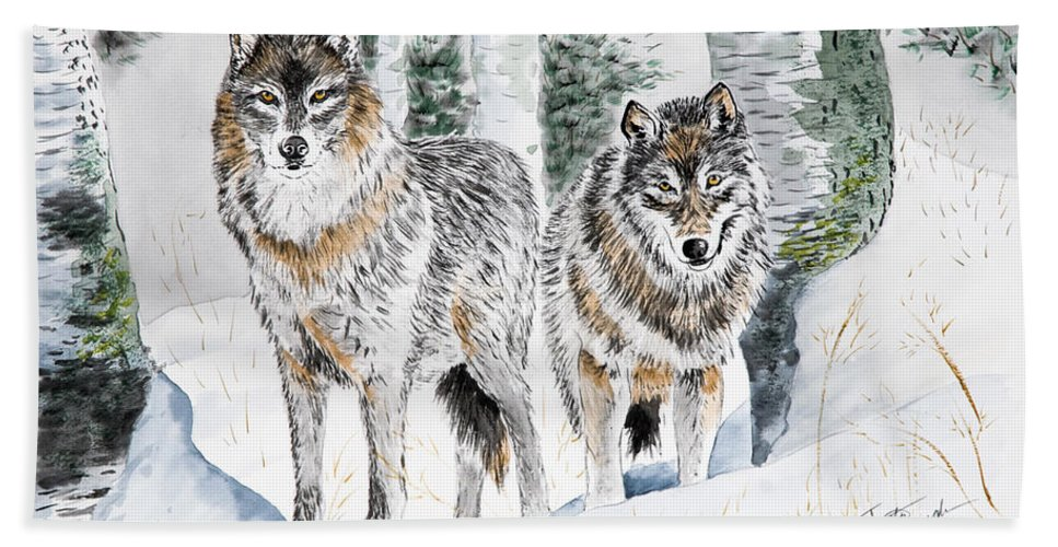 Wolves Hand Towel featuring the painting Wolves In The Birch Trees by Joette Snyder