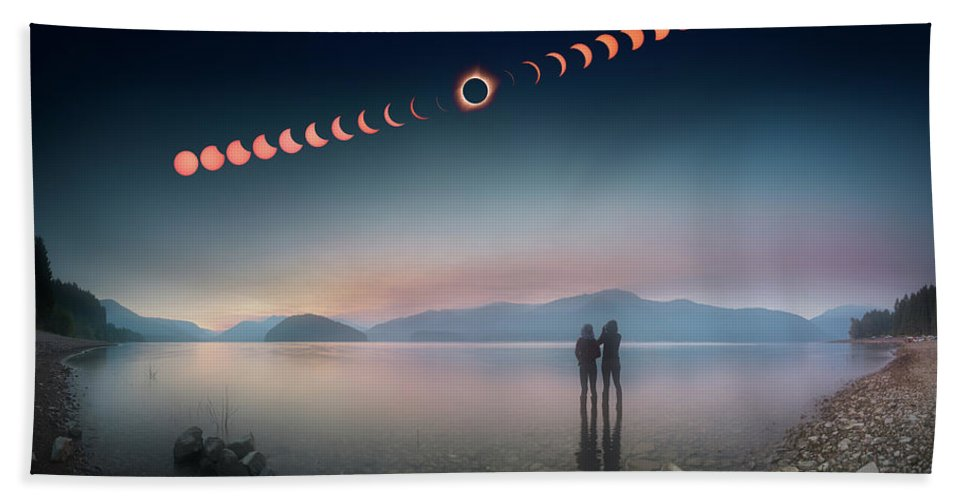 2017 Hand Towel featuring the photograph Woman And Girl Standing In Lake Watching Solar Eclipse by William Freebilly photography